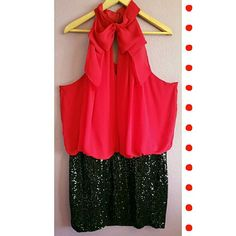 Red & Black Sequin Cocktail Dress Like new condition,  skirt is heavily sequined fully lined and stretchy, collared neckline with button closures on the back Bisou Bisou Dresses