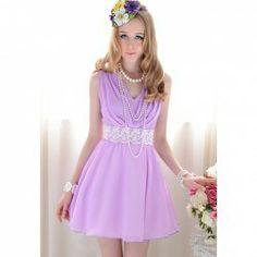 $12.38 Elegant Cowl Neck Sleeveless and Lace Embellished Waist Design Chiffon Dress For Women