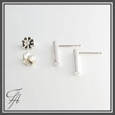 Medium Silver Bar Earrings,Plain Round Bar Studs,Sterling Silver Studs,Handmade Studs,Bar Studs, Silver Stick,Everyday Earrings,Silver Studs by FortunArtJewelry on Etsy