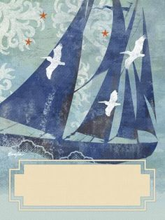 The tranquil elegance of sailing is apparent in this nautical design by Evelia, whose employment in the 1990s at Antioch Publishing in Yellow Springs resulted in her artwork appearing on bookplates, bookmarks, and journals that were sold at stores such as Barnes & Noble, Target and Borders. Evelia has continued to gain national attention as a popular licensed artist.