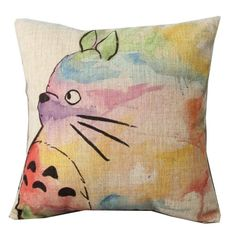 Vintage Home Decor Cotton Linen Throw Pillow Cover Animal Painting, Green spruce