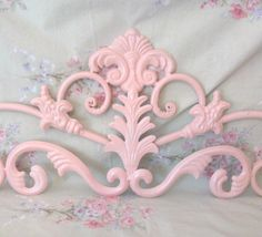 """XL 36"""" Shabby Pale Pink Very Ornate Flourished Wall Decor Door/Picture Topper Gorgeous Chic Romantic Victorian Paris"""
