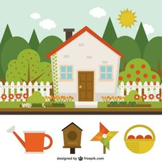 Cute house with garden Free Vector