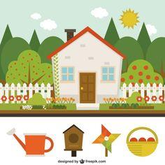 Cute house with garden Free Vector