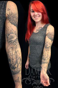 Vladimir Kush sleeve tattooed by Christy Lillard-Brooker at Damask Tattoo in Seattle, WA