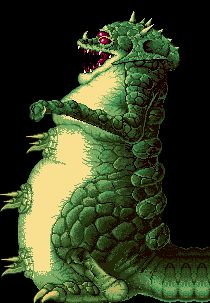 """Kraid is high-ranking Space Pirate and a boss in the original Metroid and Super Metroid. This pic comes from his battle in Super Metroid, where he is the only boss in the game to be so large as to take up multiple screens. In both games his lair lies in the depths of a rocky zone of Planet Zebes named """"Brinstar"""". Kraid also appears in the Metroid-based """"Brinstar Depths"""" stage in Super Smash Bros. Melee and was originally planned to be in Metroid Prime as well."""