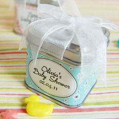 Personalized Square Baby Shower Favor Tin
