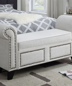Look at this Cream Roman Bed Bench on #zulily today!