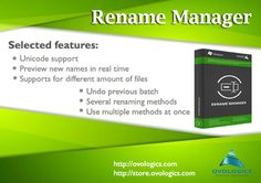 Rename Manager Is a #program for helps you to rename your files/folders using different masks for file/folder names and extensions, so that you can quickly and easily rename them into a format you want. You can #rename file/folder names as well as files extensions. #Ovologics #Software #Applications #System #Utilities