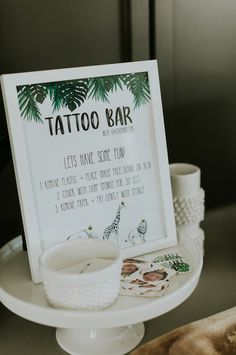 Safari Themed Tattoo Bar from a Modern Jungle Safari Birthday Party on Kara's Party Ideas Safari Theme Birthday, First Birthday Party Themes, Wild One Birthday Party, 18th Birthday Party, Safari Party, 1st Boy Birthday, Jungle Safari, Birthday Celebration, Jungle Party