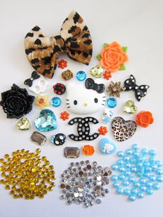 kawaii OrangeBlue And Black Kitty Fashion DIY by i    Diy kit.. Really wanna get back into trying to make phone cases,rings ,earrings, etc.