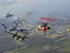 A-10 Warthog, F-86 Sabre, P-38 Lightning, P-51 Mustang in formation...