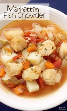 Manhattan Fish Chowder is the tomato broth-based fish stew that is New York's take on the traditional, creamy New England chowder. Chowder Recipes, Soup Recipes, Cooking Recipes, Seafood Stew, Seafood Dinner, Fish Recipes, Seafood Recipes, Fish Chowder, Fish Stew
