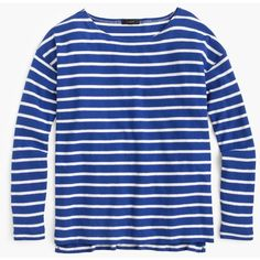 J.Crew Deck-Striped T-Shirt ($35) ❤ liked on Polyvore featuring tops, t-shirts, long sleeves, shirts, tops/outerwear, blue striped shirt, slim fit shirt, cotton t shirt, long sleeve shirts and blue t shirt