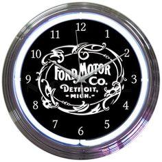 Neonetics 8FRDMC Ford Motor Company 1903 Heritage Emblem Neon Clock