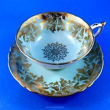 Pretty Gold Bell Flower Design on Blue Paragon Tea Cup and Saucer Set