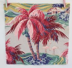 Vintage Tropical Pink Flamingo Barkcloth Fabric-2 pieces for pillows