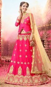 Pink Color Silk Embroidered Lehenga Choli #silklehengacholi #lehengamaterial Wrap on this pink color silk embroidered lehenga choli and strike a thousand hearts with your haunting beauty. The lace and resham work looks chic and best for any get together. Upon request we can make round front/back neck and short 6 inches sleeves regular lehenga blouse also. USD $ 91 (Around £ 63 & Euro 69)