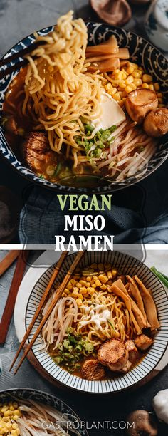 Vegan Miso Ramen It has a rich umami flavor and a hint of spiciness It includes meaty king oyster mushroom scallops corn kernels marinated bamboo shoots and bean sprouts. Ramen Recipes, Vegan Dinner Recipes, Vegan Dinners, Asian Recipes, Whole Food Recipes, Vegetarian Recipes, Cooking Recipes, Healthy Recipes, Cooking Ribs