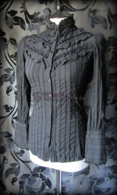 Victorian Goth Black Frill Lace High Neck Blouse 10 Steampunk Governess Gothic   THE WILTED ROSE GARDEN on eBay // UK Based // Worldwide Shipping Available