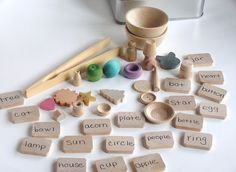 Wooden -Waldorf- Kids -Toy-Natural Wood Toy- TEACH ME System- Montessori- Waldorf- Word and Transfering Educational Game. $35.00, via Etsy.