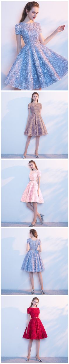 Short Wedding Dresses : A-line Scoop Short Mini Tulle Short Prom Dress Homecoming Dresses Cute Homecoming Dresses, Prom Dresses, Wedding Dresses, Sexy Party Dress, Dress Up, Looks Party, Lovely Dresses, Simple Dresses, Mode Style