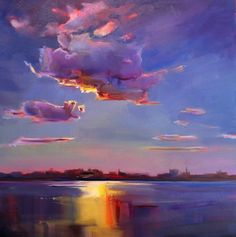 """Harbor Cloud,"" by Holly Ready. Oil, 24"" x 24,"" available at Maine Art Paintings and Sculpture."