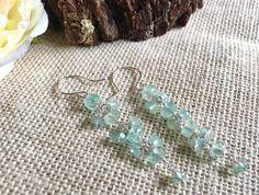 Gemstone earrings  long earrings  silver by GreenGeckoJewellery