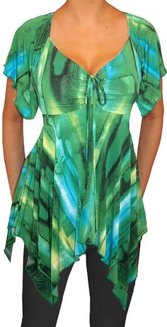 Zf Funfash Plus Size Women Emerald Green A Line Top Blouse Shirt Made In Usa