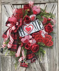 Valentine Wreath, Valentine Decor, Valentine Door, Welcome Sign HOME ~❤️~ ''Tis the season for LOVE~ we're talking Valentines honey! Greet the season and adorn your door with this beauty! Filled with lots of charm, impeccable design, an eye to pop on your door~ this wreath is not just