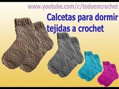 Calcetines o medias termicas tejidas a crochet para hombres, damas y niños - YouTube