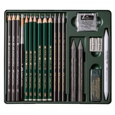 Faber Castell : Pitt Graphite Set : Metal Tin Set of 19 Faber Castell, Art Pencil Set, Pitt Artist Pens, Jackson's Art, Cool Gifts For Kids, Cute School Supplies, Polychromos, Gel Pens, Brushes