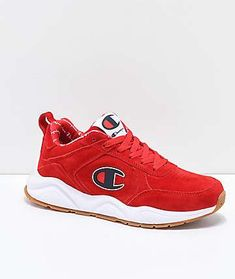 8895222504c Champion 93 Eighteen Big C Red   White Suede Shoes Champion Brand