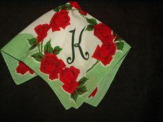 Vintage 1950 Roses Floral Hankie Handkerchief Printed Initial K - The Gatherings Antique Vintage