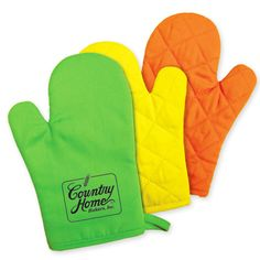 OM203 – Kitchen Bright Oven Mitt.  100% cotton canvas material front and back with non-woven material inside. Bright neon colors really stand out! Promotional Products.