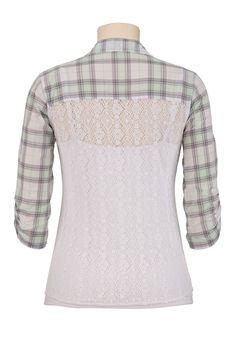 Elbow Sleeve Lace Back Plaid Shirt - maurices.com