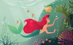 The art from Disney Golden Books (x) The Little Mermaid La Sirenita Ariel Disney Pixar, Disney Nerd, Disney Music, Disney Fan Art, Disney And Dreamworks, Disney Love, Walt Disney, Disney Couples, Disney Stuff