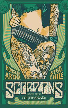 Scorpions & Whitesnake GigPoster, Santiago CHILE. Jofre Conjota on Behance #gisposter #poster #scorpions #whitesnake https://www.behance.net/gallery/42225995/SCORPIONS-WHITESNAKE-GigPoster