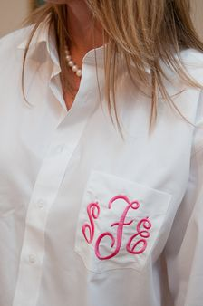 Monogrammed Oversized Shirts for Bridesmaids with Circle Monogram. Button down Men's shirts for your Bridal Party. Personalized shirts for your bridesmaids.