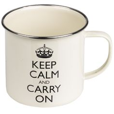 """Enamel drinking containers conjure images of relaxing times in the great outdoors, and chances are if you're doing a spot of camping or back yard self-reflection the """"Keep Calm and Carry On"""" message o. Keep Calm Carry On, Fall To Pieces, Steel Rims, The Last Drop, Sit Back And Relax, Black Enamel, Coffee Mugs, Drinking Coffee, Tea Cups"""