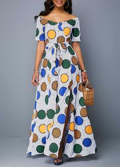 Geometric Print Off the Shoulder Belted Maxi Dress Maxi Dress With Sleeves, Belted Dress, Geometric Sleeve, Spandex Dress, Ankara Styles, Fashion Outfits, Dress Fashion, Sleeve Styles, Off The Shoulder