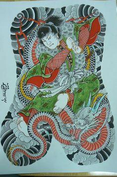 Artist: Horimasa Unryu Kuro Full Back Tattoos, Full Body Tattoo, Body Tattoos, Sleeve Tattoos, Tatoos, Japanese Back Tattoo, Japanese Tattoo Designs, Japanese Dragon, Japanese Art