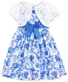 Nannette Little Girls' 2-Piece Floral Dress & Crochet Shrug Set