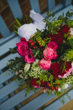 Gold Red Glam English Indian Wedding Peony Rose Red Pink Bridal Bouquet http://amybphotography.co.uk/