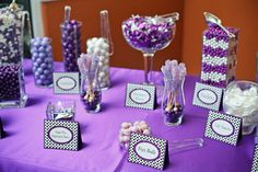 purple and silver wedding tables   White And Purple Table Display