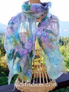 Silk rosettes and shimmering rivers of handspun silk scarf wrap. Using Cocoon of Silks, dimensional effects from casteofcostmesa. Felt Fabric, Fabric Art, Felt Wall Hanging, Felting Tutorials, Textiles, Shabby, Nuno Felting, Handmade Felt, Felt Art