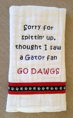Georgia Bulldog Burp Cloth by ThePersonalDesign on Etsy Georgia Girls, Georgia On My Mind, Georgia Bulldogs Football, University Of Georgia, Down South, Burp Cloths, Baby Love, Just In Case