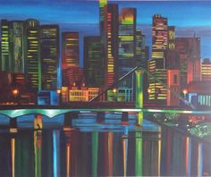 Modern Schilderij Skyline Frankfurt 100x120x3