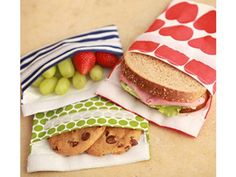Lunchskins bags are made of heavy organic cotton with a BPA-free plastc liner. These are durable enough to last for years. And they are dishwasher safe. They have sandwich and snack bag sizes.  LUNCHSKINS.COM