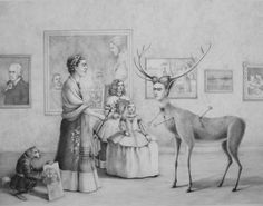 """""""Frida Encounters Herself,"""" drawing by Kate Samworth. 20x28 inches"""